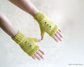 Yellow green hand knitted gloves fingerless mittens unisex lime
