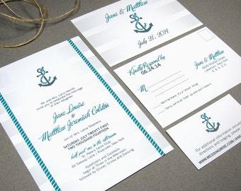 Striped Nautical Wedding Invitations Anchor Invites Beach Wedding Invitation Set Script Pocket Suite Teal and Gray Wedding RunkPock Designs