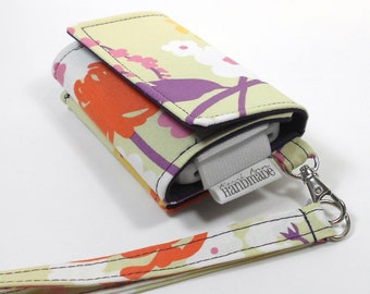 The Errand Runner - Cell Phone Wallet - Wristlet - for iPhone/Android - Floral in Punch/Eggplant
