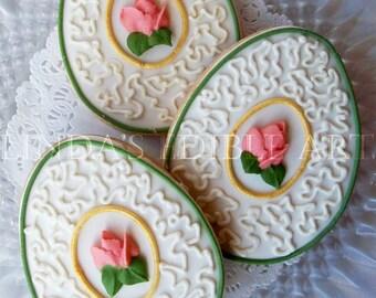 Cottage Rose Easter Egg Cookie 1 Dozen (12)