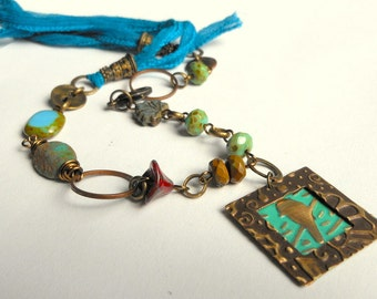 Bird Necklace,Bird on a Branch Necklace,Bird in the Window,Embossed Metal Necklace,Bird Jewelry