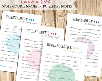 Bridal Shower - Wedding Advice Mad Libs -- DIY Printable