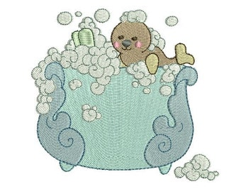 Baby Seal Bath Time Cutie Machine Embroidery Design - Instant Download