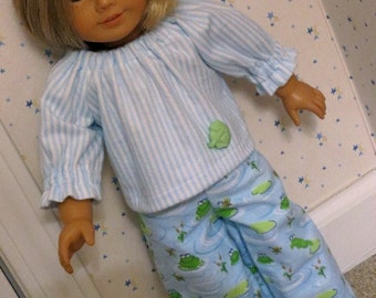 18 Inch Doll Two Piece Flannel Blue and White Frog Print Pajamas by SEWSWEETDAISY
