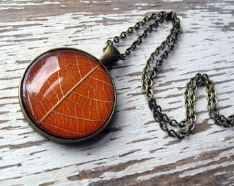 Autumn Orange Leaf Necklace