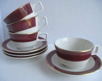 Homer Laughlin Restaurant Ware Cups with Saucers , Burgandy Stripe .