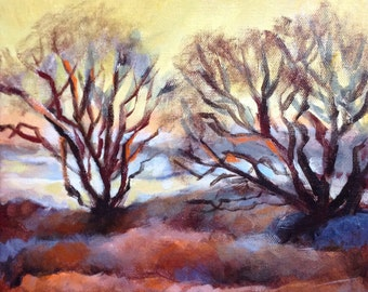 "Original Acrylic Abstract Landscape painting- Iowa Winter 2- 10"" x 10"""