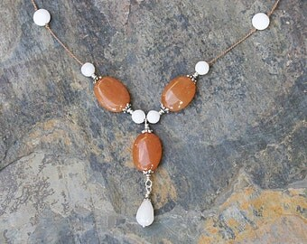 Natural Stone Necklace, Orange and White Necklace, Natural Stone Necklace, Aventurine Necklace, White Jade Necklace, Handmade Necklace