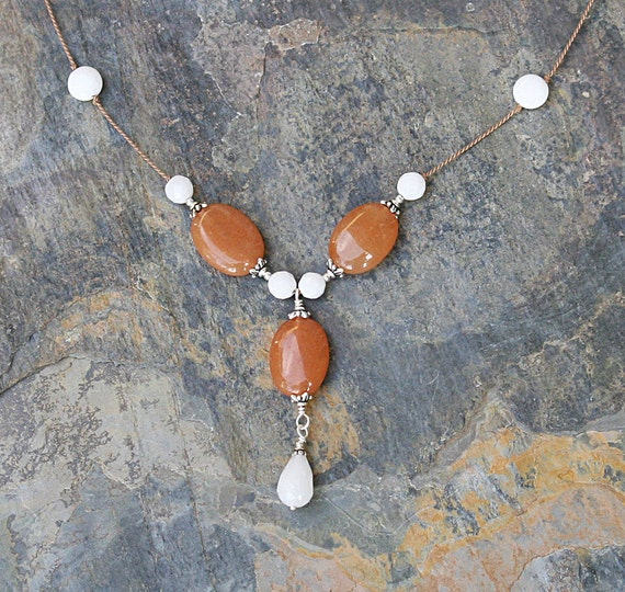 Orange And White Marble Slab : Natural stone necklace orange and white