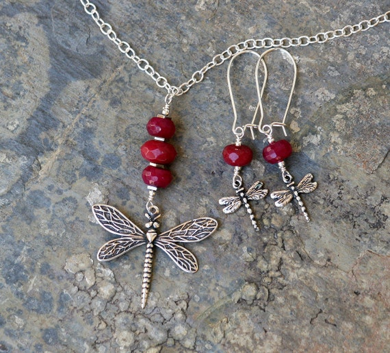 Pink Dragonfly Jewelry Set, Ruby Jade Jewelry Set, Bohemian Jewelry Set, Silver Dragonfly Jewelry Set, Handmade Jewelry Set, Summer Jewelry