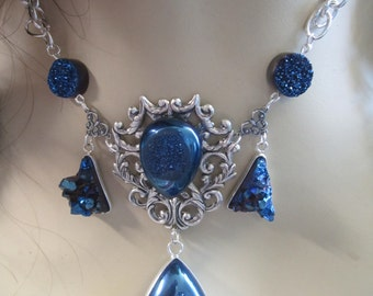 Shimmering Sapphire Necklace of the Ice Princess Druzy Crystal