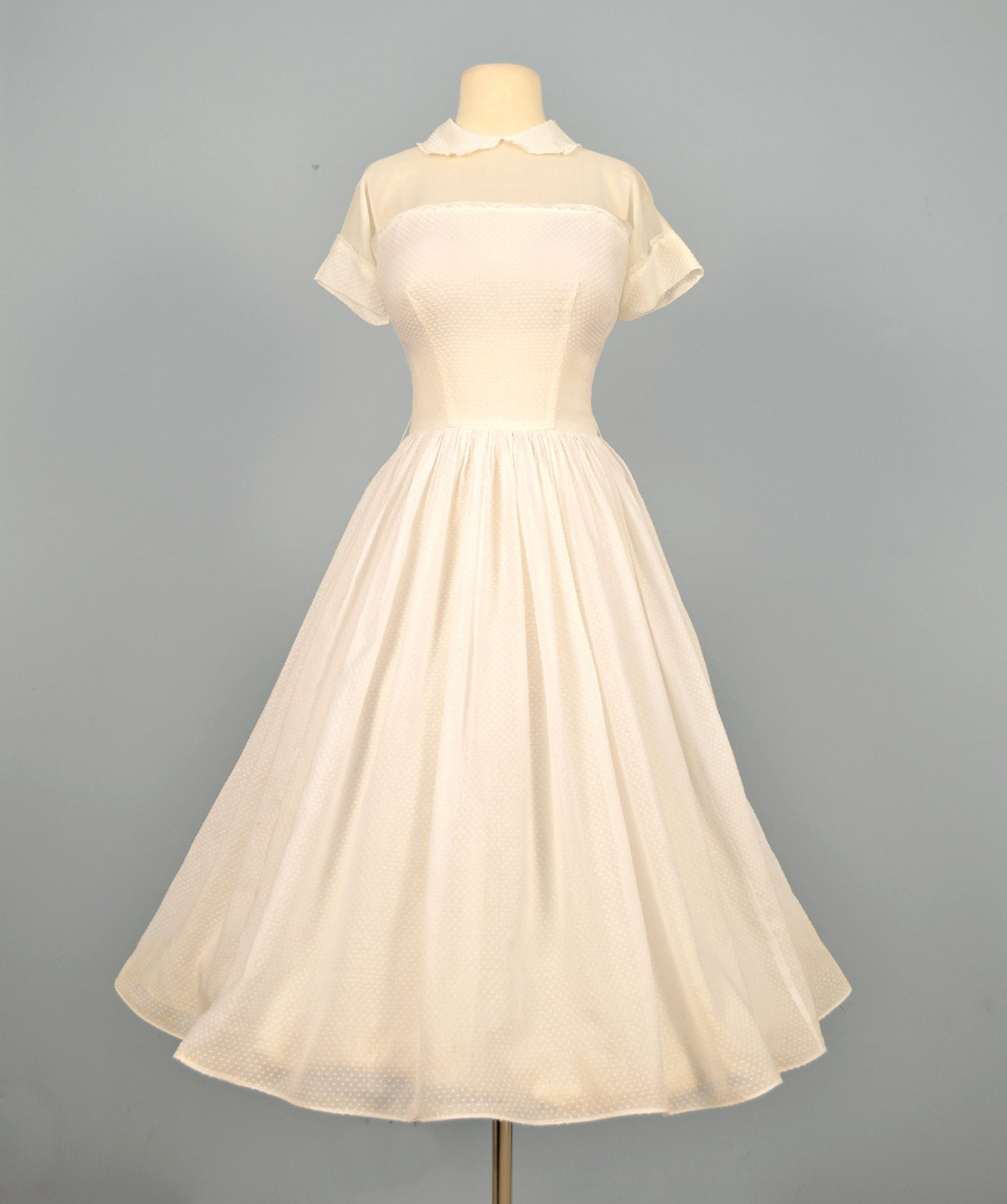 Vintage 1950s Wedding Dress Darling White Cotton by deomas
