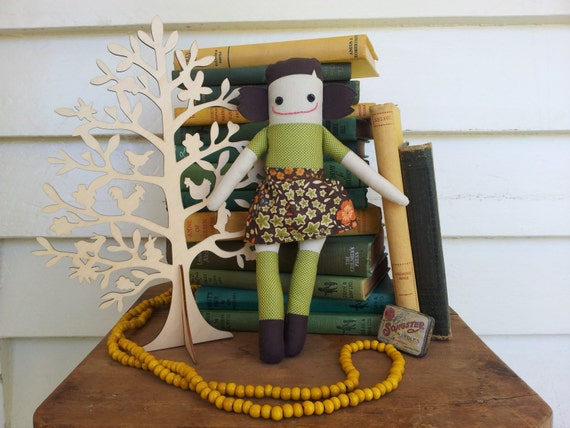 Ambitious Aggie - Handmade Doll in Olive Green Spots
