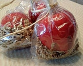 Set of 3 Faux Primitive Red Candy Apple Bowl Fillers