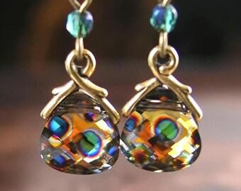 Peacock Earrings Swarovski Royal Peacock Crystal Earrings Antique Gold Vine Blue Green Orange Earrings