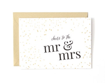 SALE!!! Cheers to the Mr. and Mrs. Wedding Card, Gold Foil, Wedding Greeting Card by Abigail Christine Design