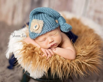 Dusty Blue Burlap Baby Newborn Knit Hat Photography Prop