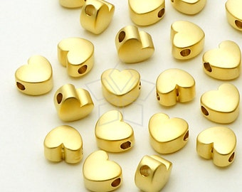 ME-163-MG / 4 Pcs - Tiny Chubby Heart Bead Centerpiece, Matte Gold Plated over Brass / 5.5mm x 4.8mm