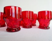 Vintage Viking Georgian Ruby 12 oz Flat Tumblers/Glasses/Water Goblets/Set of 10 Drinking Glasses