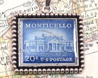 Vintage United States Monticello 20 cent Postage Stamp Necklace Pendant Key Ring