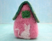 Felt House, Pink, Miniature, Collectable, Cottage, White Cat, One of a Kind