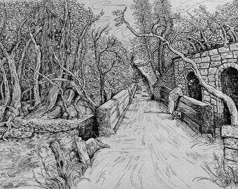 "Pen and Ink Drawing Art PRINT of original, 11x14, ""Martisco Road"" by Patty Fleckenstein"