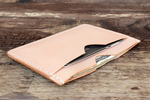 Mens Leather Flat Wallet Cash and Card Carrier