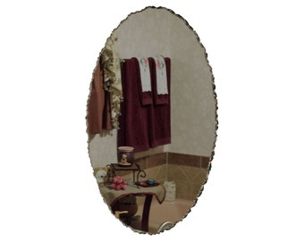 "20"" x 30"" Frameless Oval Mirror featuring Front Chipped Scalloped Edge"