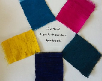 """100% dupioni silk fabric 10 yards Your choice of any color from our store: green blue pink red orange yellow SPECIFY color under """"comments"""""""