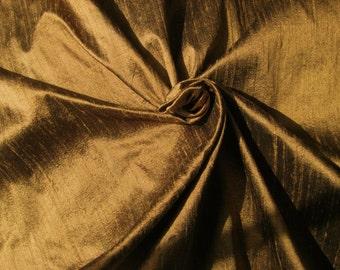 "Copper Brown 100% Dupioni Silk Fabric Wholesale Roll/ Bolt 55"" wide"