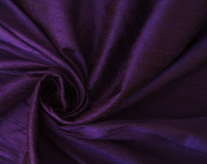 "Sapphire Purple 100% dupioni silk fabric yardage By the Yard 45"" wide"