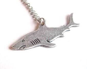 silver shark necklace  - live every week like it's shark week