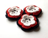Crocheted flowers applique - scrapbooking supplies - flower embellishment - 4th of July decorations - patriotic flower decor - set of 3