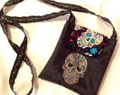 Multicolor/Black Sugar Skull Crossbody Bag
