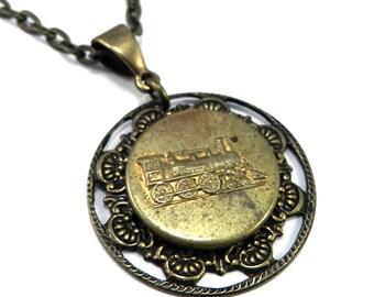 STEAMPUNK Necklace Antique TRAIN Necklace, Steam Engine Locomotive, Vintage Uniform Overall Button, 1900-1910, by Compass Rose Design