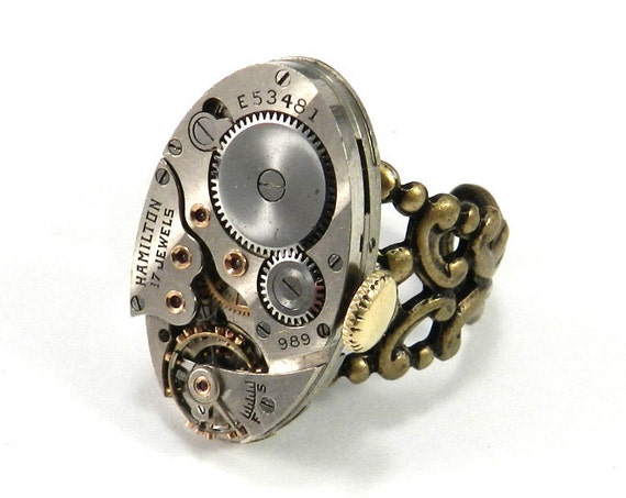 STEAMPUNK RIng Brass Oval Statement Clockwork Antique Hamilton Watch Movement Real Ruby Jewels