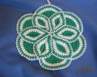Hand crocheted Potholder hotpad  Mod Green and  White 10 inches