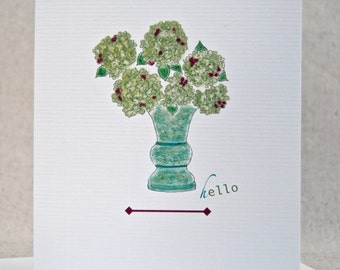 Hydrangea Flowers in a Vase Hello Folded Note Card Set Thinking of You Card Set