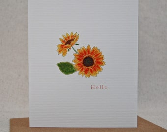 Sunflower Hello Folded  Note Card Thank You Note Garden Meadow Thinking of You Blank inside card set