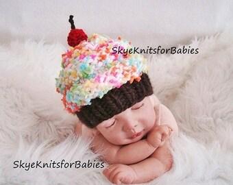 Baby Cupcake Hat, Newborn Hat, Baby Cupcake Beanie, Knit Newborn Cupcake Hat, Knit Baby Hat, Baby Girl Cupcake Hat, Newborn Photography Prop