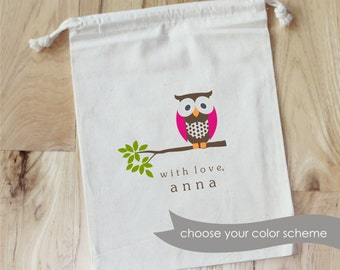 OWL on BRANCH- Personalized Favor Bags - Set of 10 - Birthday - Bridal - Baby Shower