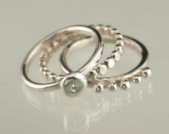 Moissanite Diamond Silver Stacking Ring set, 3 Silver Rings, Wedding Ring, Engagement RIng