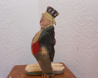 "Folk Art Wooden Cut Out Jiggs Doorstop From Maggie & Jiggs ""Bringing Up Father"" Comic Antique Character Collectible"