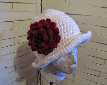 Crocheted Hat with A Brim and A Large Cabbage Rose...Winter White and Wine