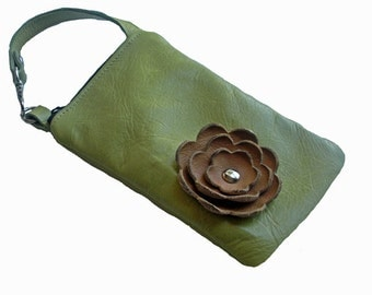 Green Leather Tan Beige Sand Poppy Flower Cell Phone Iphone Galaxy Sling Crossbody Camera Gadget Case Zipper Pouch Small Purse Wristlet