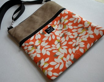 Ready to Ship Taupe Leather White Green Orange Leaves Fabric iPad Kindle Nook Crossbody Hip Passport Travel Messenger Bag Sling Purse