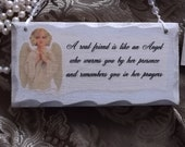 Shabby Chic Petite Inspirational Wall Sign with Angel and Friend Verse, friend gift