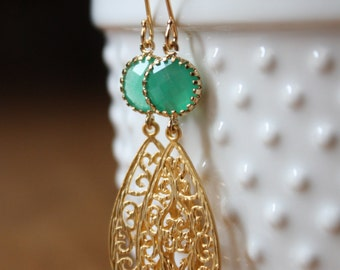 Pacific green glass round cabochon and 16k gold filigree teardrop earrings