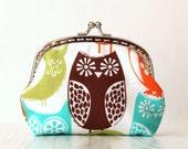 Colorful owls metal frame purse