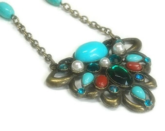 Retro Art Deco Necklace - Turquoise and Pearl Beaded Necklace - Handmade - Antique Brass - Bohemian - Victorian